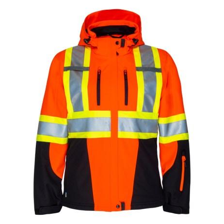 womens hi vis softshell orange jacket