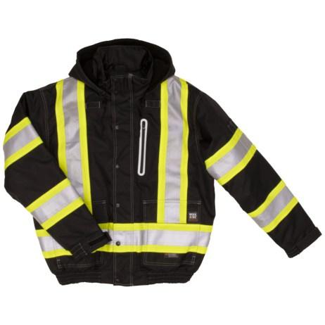 black safety bomber jacket front