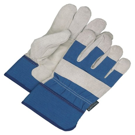 Blue and Grey Leather Gloves