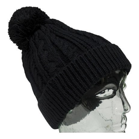 Black Knit Toque with Black Pompom