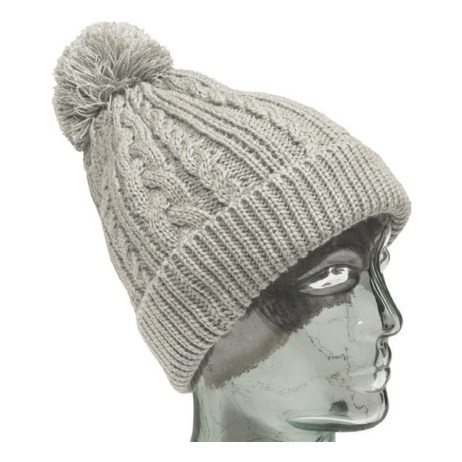 Light Grey Knit Toque with Light Grey Pompom
