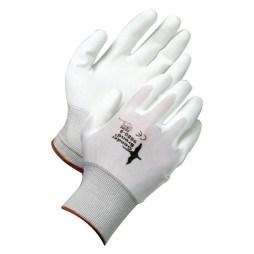 white synthetic nylon gloves