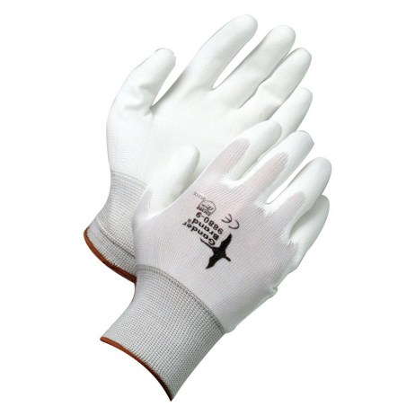 white synthetic nylon gloves