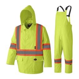 hi-viz yellow rain suit