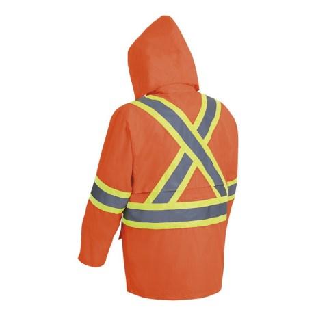 hi-viz orange rain jacket back