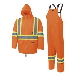 hi-viz orange rainsuit