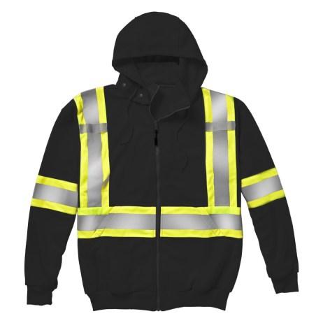 black hi-viz zip hoodie
