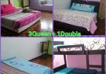 Bilik tidur Dahlia Homestay - Tiga bilik queen size dan Satu double decker