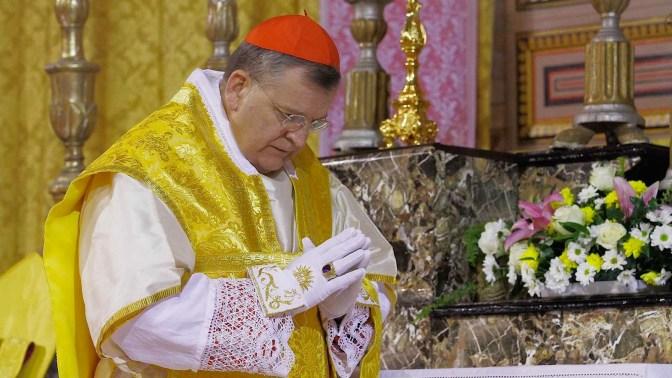 Cardeal Burke casula dourada luvas anel Missa