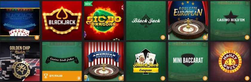 Winz casino table games