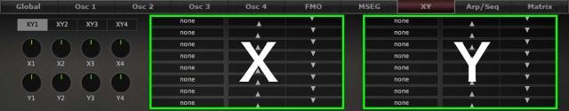 XYコントロール項目