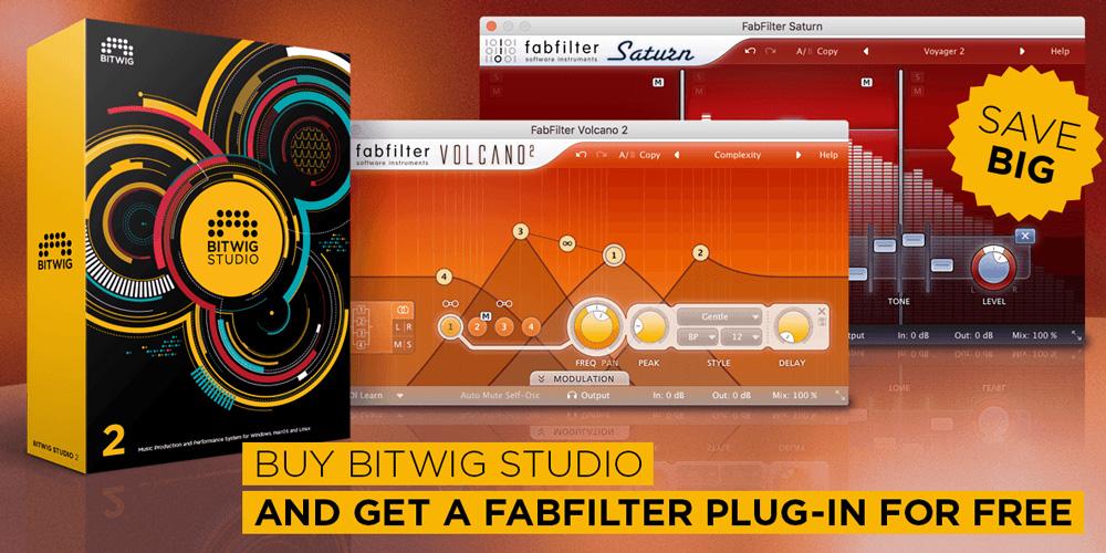 Bitwig Studio 2買うと、FabFilterプラグインが!!