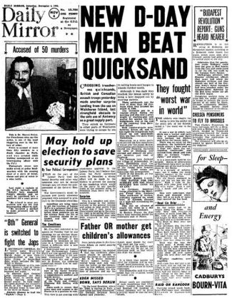 Daily Mirror frontpage, November 4, 1946