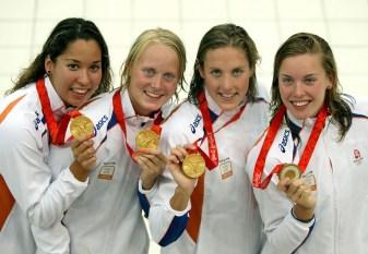 Inge Dekker with Olympic gold medal Beijing 2008