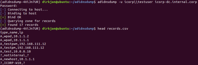 listing the DNS records