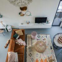 Een handgemaakte Ben Ourian vloerkleed in huis van LivingMaroc!