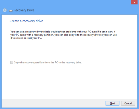 windows 8 create a recovery drive