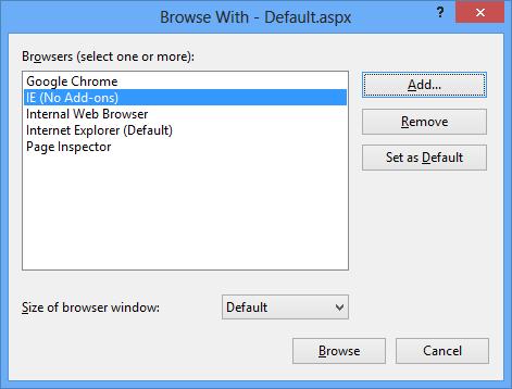 Visual Studio 2012 ASP.NET Program Added