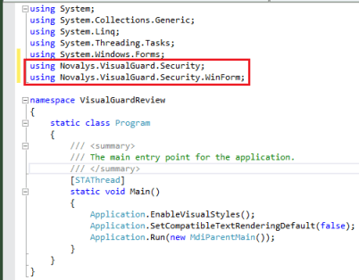 Visual Studio Add Using Statements to Main