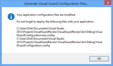 Visual Guard Config Files Modified