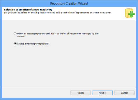 Repository Creation Wizard Create new empty repository