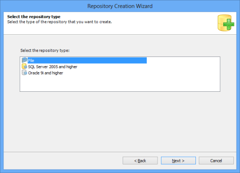 Repository Creation Wizard Select Repository Type
