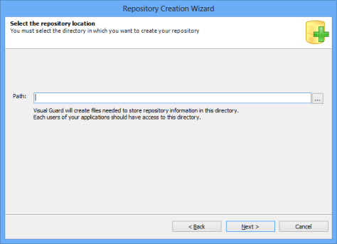 Repository Creation Wizard Repository Location