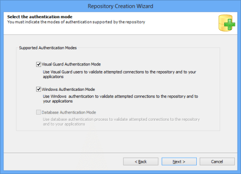Repository Creation Wizard Authentication Mode