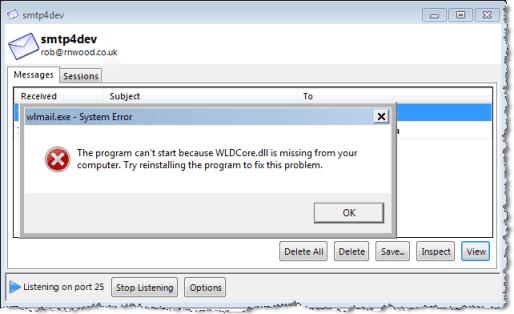 windows live mail error