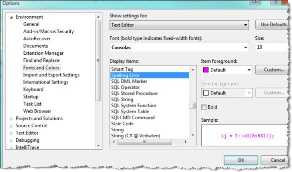 visual studio spell checker change color