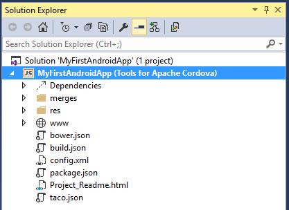 Visual Studio Enterprise 2015 Cordova Solution Explorer