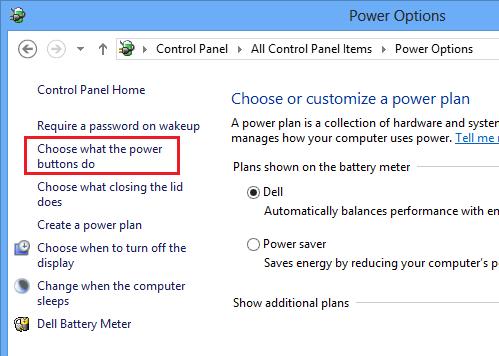 Windows 8 Power Options