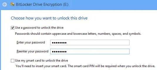 Bitlocker Drive Encryption unlock dive options