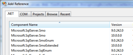 Visual Studio Add Reference SMO