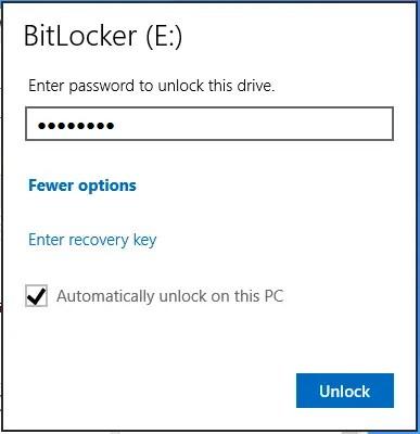 Windows 8 Bitlocker Unlock