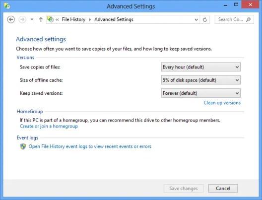 Windows 8 File History Advanced Settings