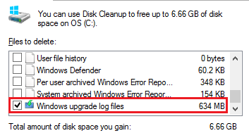 Windows 8 Disk Cleanup Upgrade Log Files