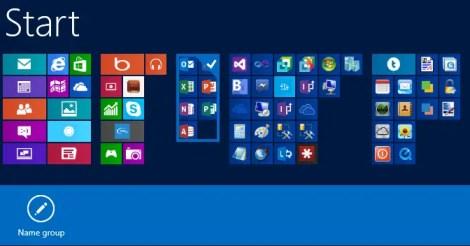 Windows 8 Start Screen Name Group