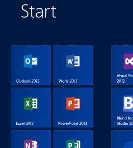 Windows 8 Start Screen Office Grouped