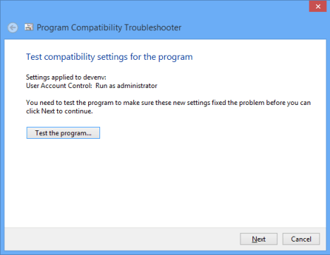 Test Compatibility settings forthe program