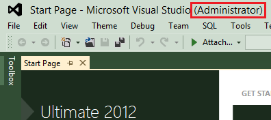 Visual Studio Ultimate 2012 Starts as Administrator