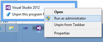 Run Visual Studio 2012 As Administrator