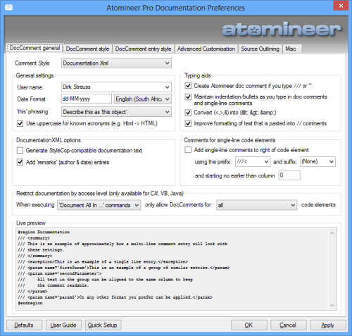 Atomineer Pro Documentation Preferences