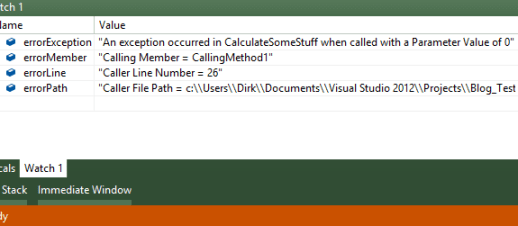 Visual Studio 2012 Watch Output