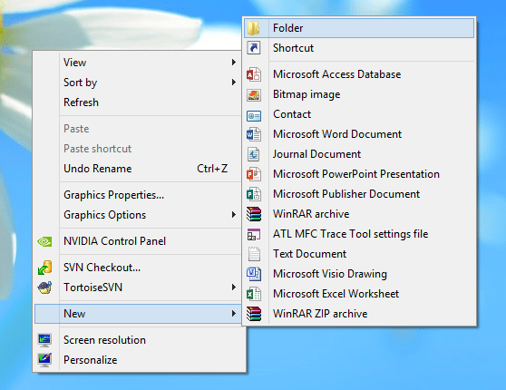 Desktop Create New Folder