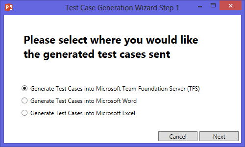 Test Case generation Wizard Step 1