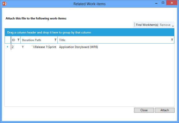 Related Work Items Screen