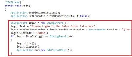 Visual Studio Add Login Form Code