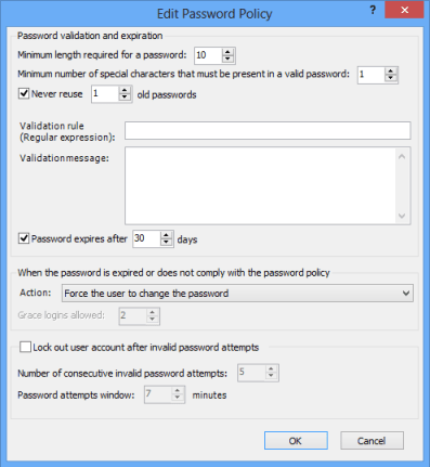 Edit Password Policy