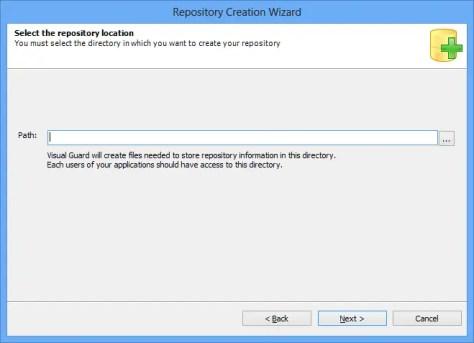 Repository Creation Wizard Repository Location